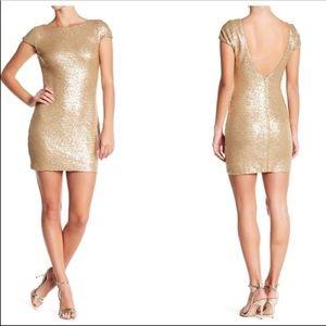 Dress the Population Tabitha Sequin Gold Matte L
